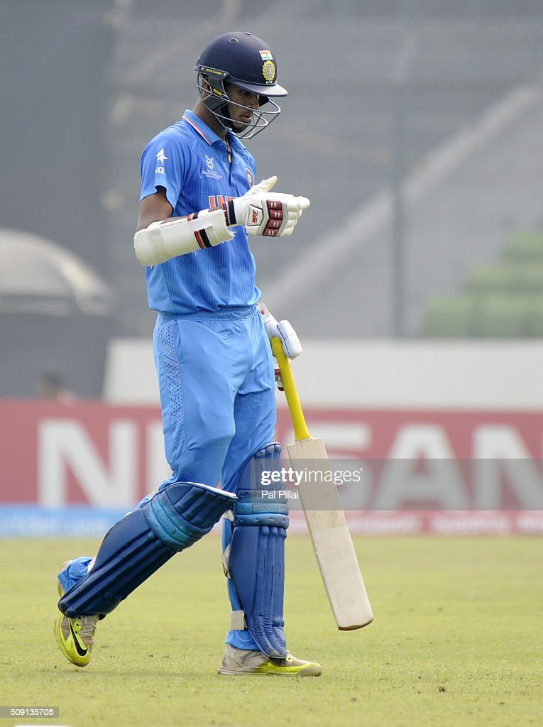 Washington Sundar of India walks back after getting out during the ICC U19 World Cup Semi-Final match between India and Sri Lanka on February 9, 2016 in Dhaka, Bangladesh.