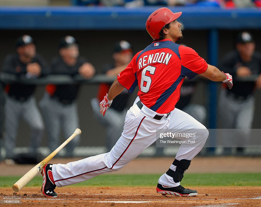 Washington third baseman Anthony Rendon (6) connects with ball as the Florida Marlins tie the Washington Nationals 2 -2 in 10 innings during Grapefruit League baseball in Viera FL, February 24, 2012 .