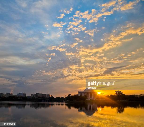 Washington Tidal Basin and Jefferson Memorial with Brilliant Sunrise