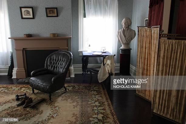 A bust of US civil rights pioneer Frederick Douglass is seen in his bedroom at his residence known as Cedar Hill 06 March 2007 in Washington DC...