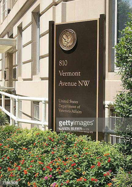 A sign at the United States Department of Veterans Affairs building is shown 15 August 2006 in WashingtonDC The US Department of Veterans Affairs is...