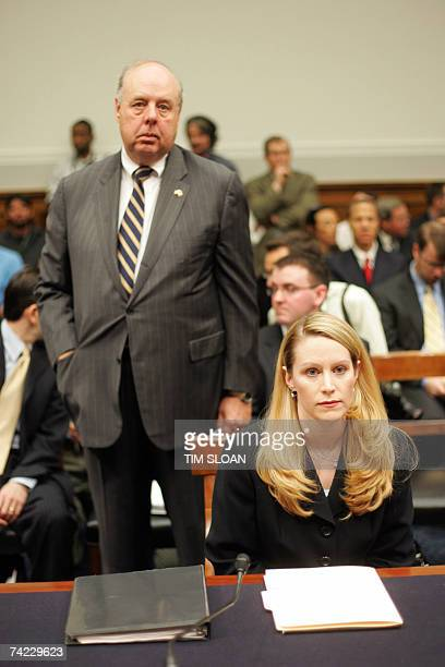 Attorney John Dowd stands behind his client Monica Goodling former aide to US Attorney General Alberto Gonzales ahead of her testimony before the...