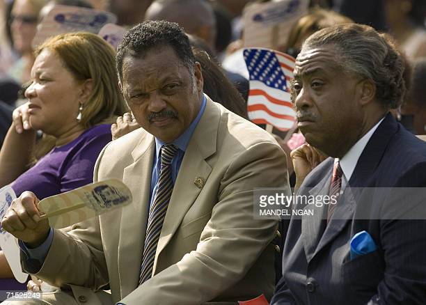 Civil rights activists Jesse Jackson and Al Sharpton wait for the signing ceremony of HR 9 the Fannie Lou Hamer Rosa Parks and Coretta Scott King...