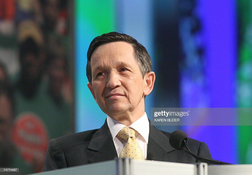Democratic 2008 presidential candidate Dennis Kucinich of Ohio addresses the American Federation of State County and Municipal Employees during its...
