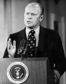 File picture showing late US Presidents Gerald Ford giving a press conference in Washington 28 August 1974 Ford who sought to heal America after the...