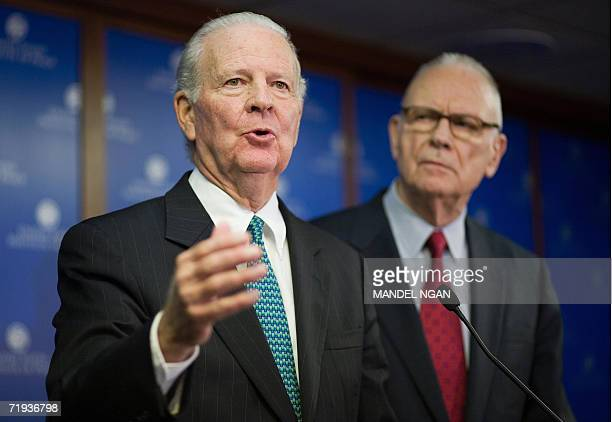 Former US secretary of state James Baker of the Iraq Study Group speaks as former member of Congress Lee Hamilton also a member of the Iraq Study...