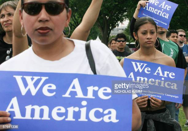 Hundreds of protesters rally 17 May on the National Mall in Washington DC to press Congress for immigration reform just two days after US President...