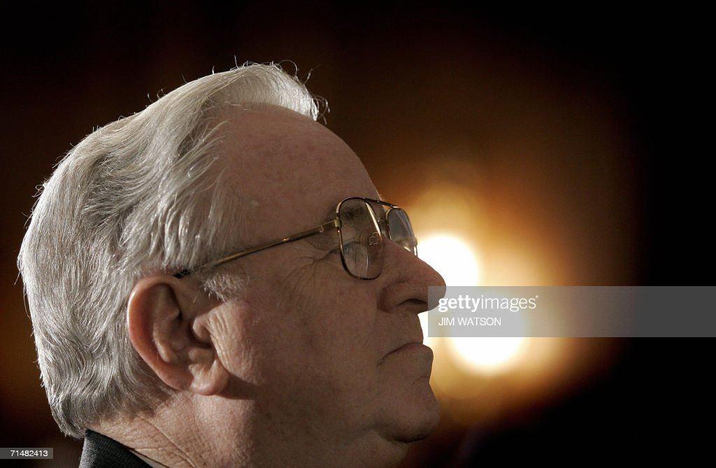 Reverend Dr Jerry Falwell founder and chancellor of Liberty University looks on during a Christians United For Israel news conference on Capitol Hill...