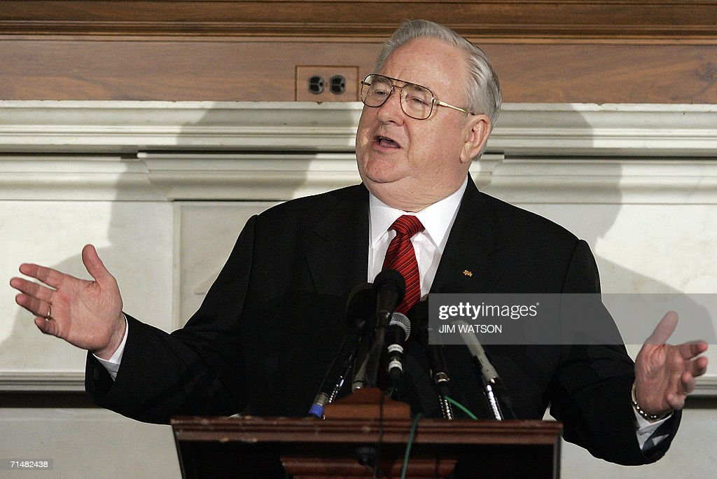 Reverend Dr Jerry Falwell founder and chancellor of Liberty University speaks during a Christians United For Israel news conference on Capitol Hill...