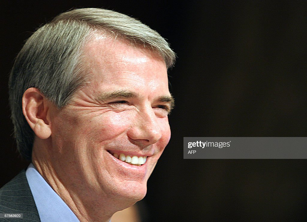 Robert Portman smiles during questioning by members of the US Senate Budget Committee 11 May, 2006 on Capitol HIll in Washington, DC. The committee is holding hearings on the nomination of Portman to be Director of the Office of Management and Budget(OMB). AFP PHOTO/Karen BLEIER