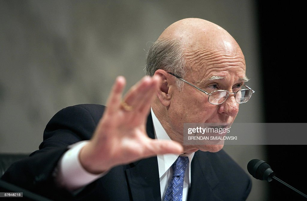 Senate Intelligence Committee Chairman Senator <a gi-track='captionPersonalityLinkClicked' href=/galleries/search?phrase=Pat+Roberts&family=editorial&specificpeople=213805 ng-click='$event.stopPropagation()'>Pat Roberts</a> asks questions during a full committee hearing of the Senate Select Intelligence Committee on General Michael Hayden's nomination to be director of the Central Intelligence Agency on Capitol Hill 18 May, 2006 in Washington, DC. AFP PHOTO/Brendan SMIALOWSKI