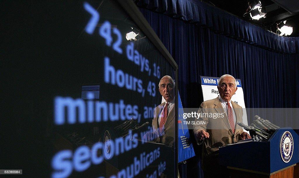 Senator Frank Lautenberg unveils the Senate Democrats Accountability Clock to highlight the failure by Senate Republicans to fulfill their...