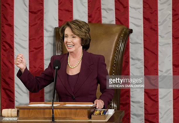Speaker of the House Nancy Pelosi speaks during the first session of the 110th US House of Representatives on Capitol Hill 04 January 2007 in...