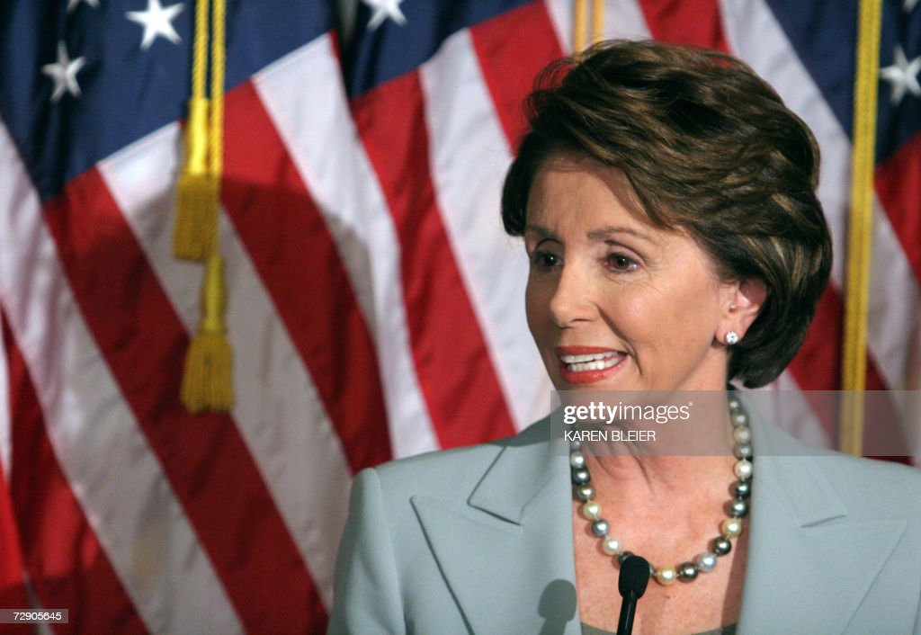 This 08 November 2006 file photo shows newly elected Speaker of the House of Representatives <a gi-track='captionPersonalityLinkClicked' href=/galleries/search?phrase=Nancy+Pelosi&family=editorial&specificpeople=169883 ng-click='$event.stopPropagation()'>Nancy Pelosi</a>, D-CA, addressing a press conference in Washington, DC. The first woman in history to be elected House Speaker, Pelosdi has vowed to push for a change of policy in Iraq after her party gained control of the House of Representatives for the first time since 1994. AFP PHOTO/FILES/Karen BLEIER