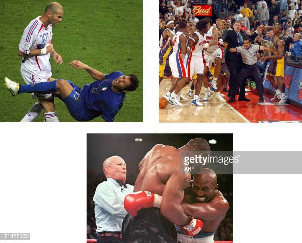 TO GO WITH AFP STORY 'FOOTMOND2006ZIDANEUSA' This combo shows clockwise from left French football star Zinedine Zidane head butting Italian defender...