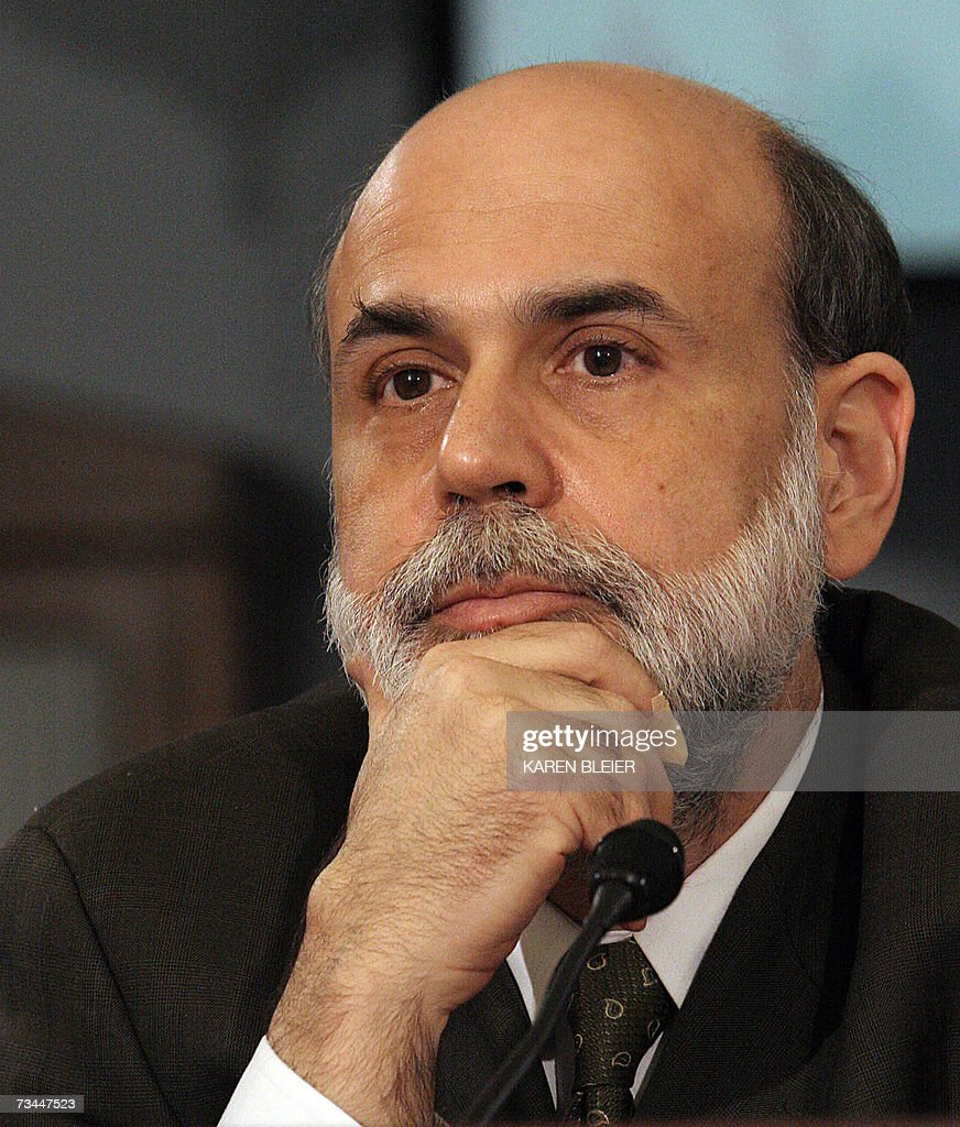 US Federal Reserve Board Chairman Ben Bernanke testifies before the House Budget Committee 28 February, 2007 on Capitol Hill in Washington, DC. Bernanke renewed a warning to the US Congress Wednesday that failure to take action soon to prepare for the retirement of aging Baby Boomers could lead to serious economic harm. Bernanke did not address the outlook for US interest-rate policy or 27 February's collapse in global stock markets in his prepared testimony. AFP PHOTO/Karen BLEIER