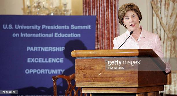 US First Lady Laura Bush delivers remarks and introduces Under Secretary of State for Public Diplomacy and Public Affairs Karen Hughes during a State...