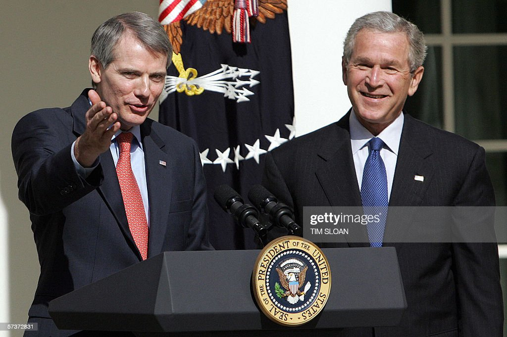 US President George W. Bush (R) nominates Trade Representitive Rob Portman as Office of Management and Budget(OMB) Director in the Rose Garden of the White House 18 April, 2006 in Washington, DC. Portman would succeed Joshua Bolten, who was appointed White House Chief of Staff.
