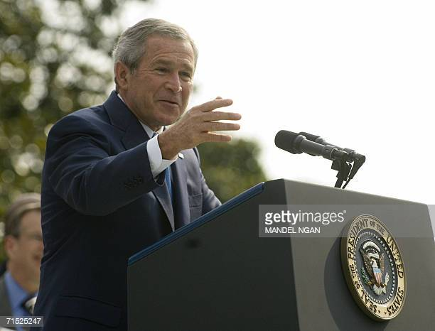 US President George W Bush speaks before the signing of HR 9 the Fannie Lou Hamer Rosa Parks and Coretta Scott King Voting Rights Act Reauthorization...