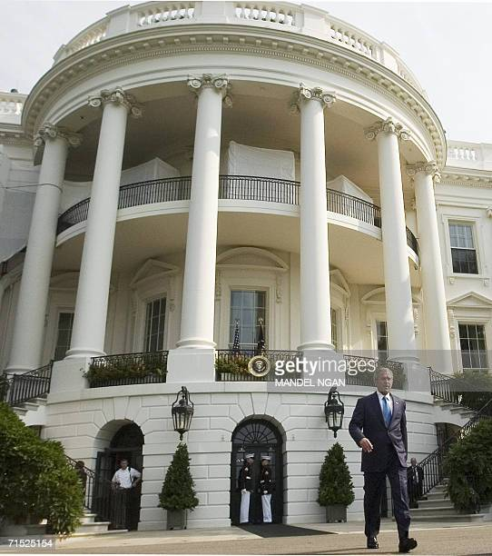 US President George W Bush walks out of the White House for the signing of HR 9 the Fannie Lou Hamer Rosa Parks and Coretta Scott King Voting Rights...