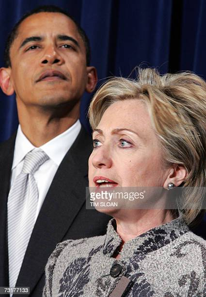 US Senator Hillary Rodham Clinton DNY and US Senator Barack Obama DIL appear together at a press conference after the Senate passed a bill raising...