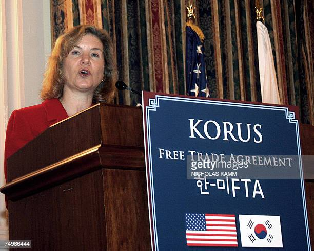 US Trade Representative Susan Schwab speaks before signing the KORUS Free Trade Agreement with South Korean Trade Minister Kim Hyunchong 30 June 2007...