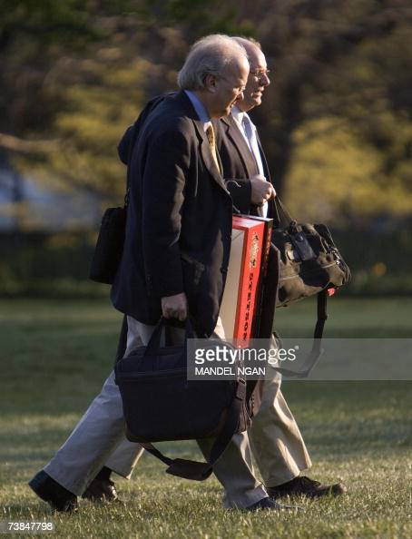 White House Deptuy Chiefs of Staff Karl Rove and Joe Hagen walk on the South Lawn 09 April 2007 upon return to the White House in Washington DC Rove...
