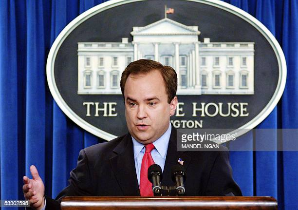 White House spokesman Scott McClellan speaks during a briefing at the White House 29 July in Washington DC The White House sought to play down...