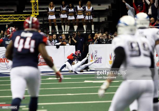 Washington Valor wide receiver Mike Washington hauls in a deep pass for the first Washington Valor touchdown in franchise history during a match...