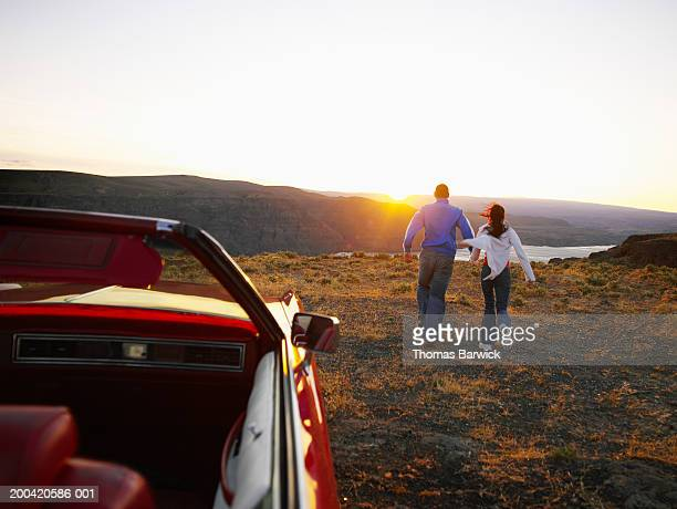 USA, Washington, Vantage, couple overlooking river, sunset, rear view