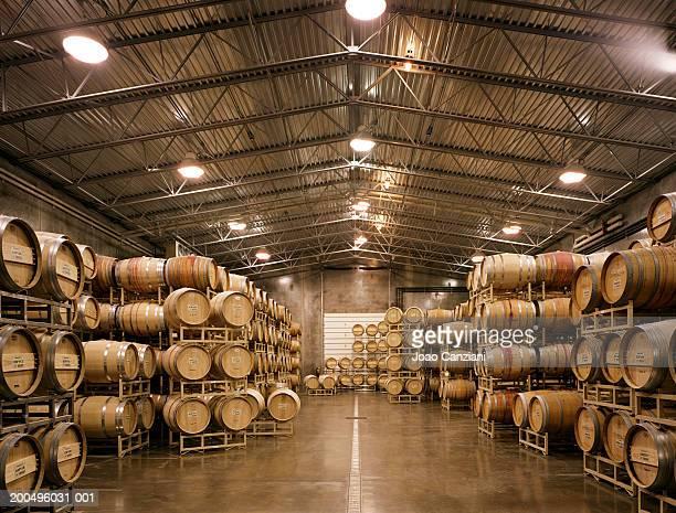 USA, Washington, Walla Walla, wine barrel warehouse