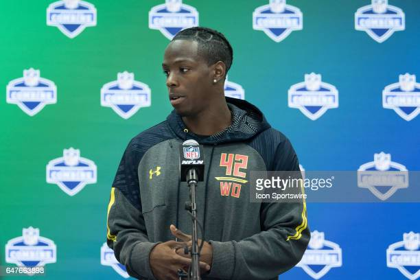 Washington wide receiver John Ross answers questions from the media during the NFL Scouting Combine on March 3 2017 at Lucas Oil Stadium in...