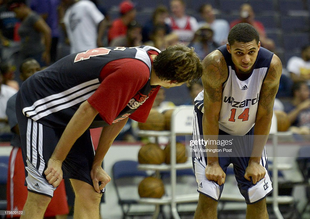 Washington Wizard forward Jan Vesely, left, talks with 2013 draft pick Glen Rice, Jr., during a Washington Wizards Summer League mini camp practice on Tuesday, July 9, 2013.