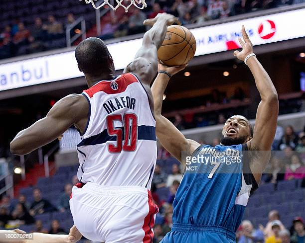 Washington Wizards center Emeka Okafor blocks the shot of Minnesota Timberwolves power forward Derrick Williams during the first half of their game...