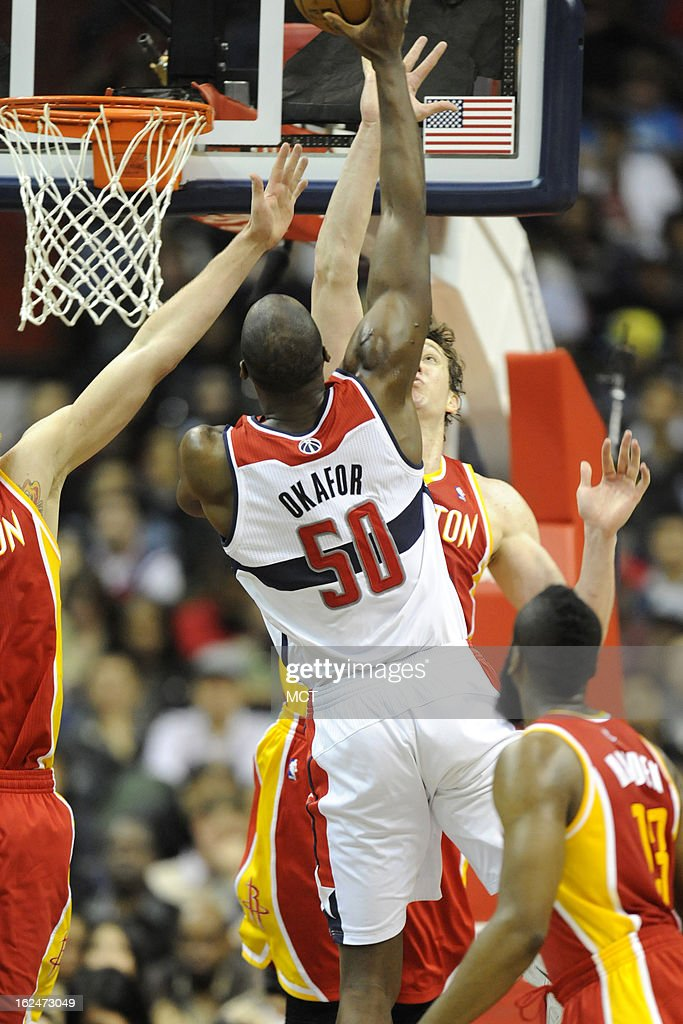 Washington Wizards center Emeka Okafor (50) takes a shot during second-half action against the Washington Wizards at the Verizon Center in Washington, D.C., Saturday, February 23, 2013. The Wizards defeated the Rockets, 105-103.
