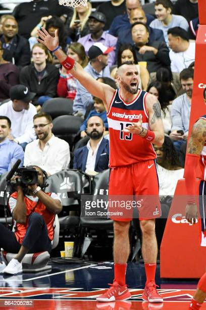 Washington Wizards center Marcin Gortat reacts after being called for a foul on October 20 2017 at the Capital One Arena in Washington DC The...