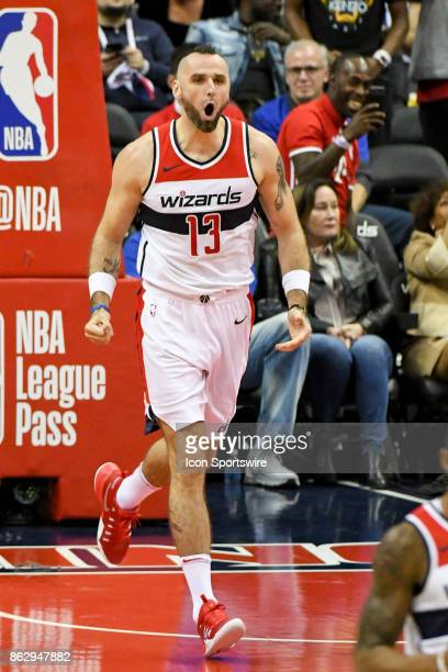 Washington Wizards center Marcin Gortat yells out after scoring in the second half against the Philadelphia 76ers on October 18 2017 at the Capital...