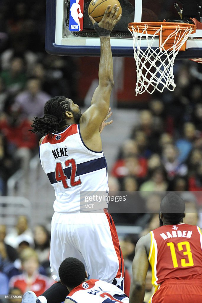 Washington Wizards center Nene (42) drives to the basket during second-half action against the Washington Wizards at the Verizon Center in Washington, D.C., Saturday, February 23, 2013. The Wizards defeated the Rockets, 105-103.