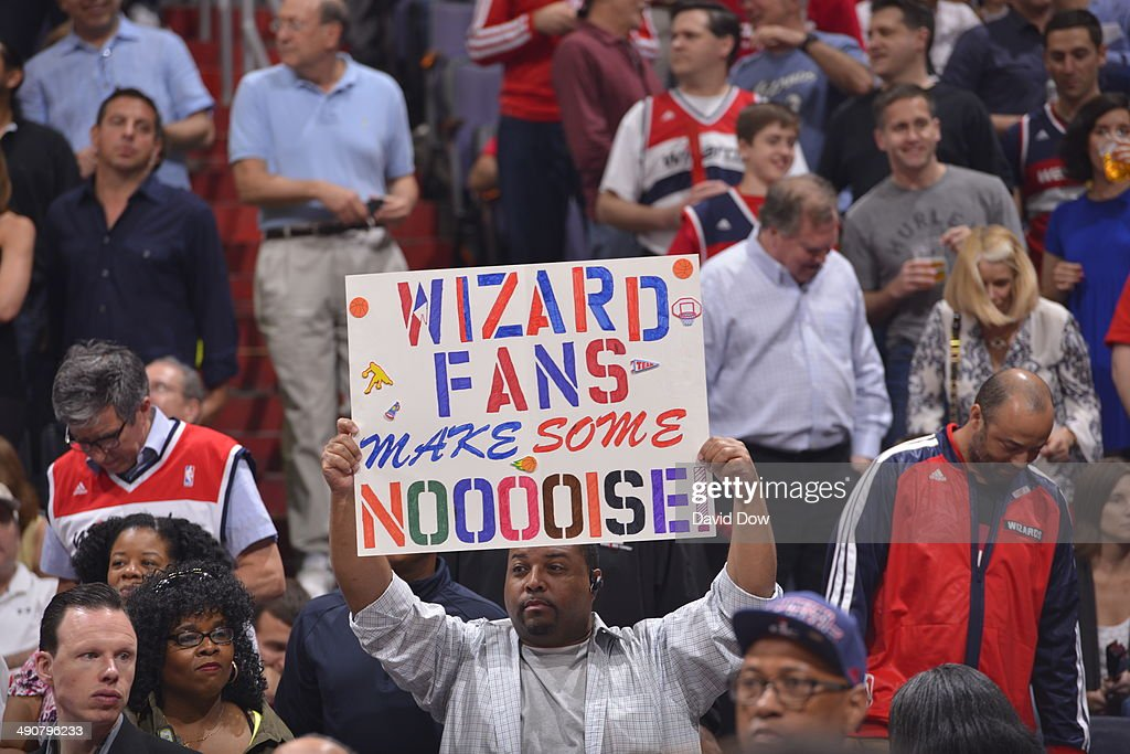 Washington Wizards fans cheer during the game against the Indiana Pacers during Game Three of the Eastern Conference Semifinals on May 9, 2014 in Washington, DC.