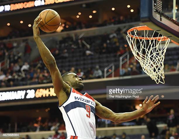 Washington Wizards forward Martell Webster sails into the basket during action against the Brooklyn Nets on February 7 2015 in Washington DC