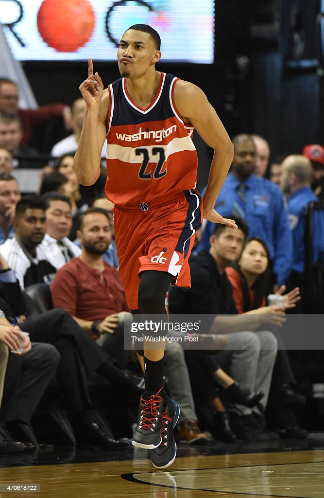 Washington Wizards forward Otto Porter Jr. (22) reacts after nailing a three pointer against the Toronto Raptors during game two action on April 21, 2015 in Toronto, Ontario.