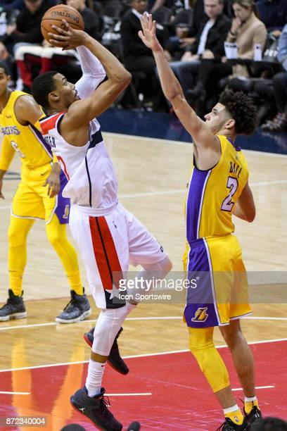 Washington Wizards forward Otto Porter Jr scores against Los Angeles Lakers guard Lonzo Ball in the first half on November 9 2017 at the Capital One...