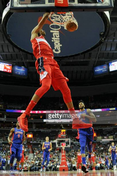 Washington Wizards forward Otto Porter Jr scores on a fast break against the Detroit Pistons on October 20 2017 at the Capital One Arena in...