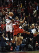 Washington Wizards guard Bradley Beal blocks the last pass to Chicago Bulls guard Jimmy Butler at the end of the game during the second half of game...