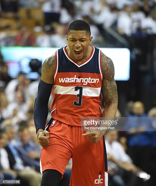 Washington Wizards guard Bradley Beal reacts after making a second half three pointer against the Toronto Raptors during game one action on April 18...