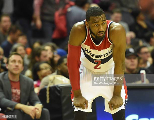 Washington Wizards guard John Wall looks as they trail the Toronto Raptors in overtime on January 31 2015 in Washington DC