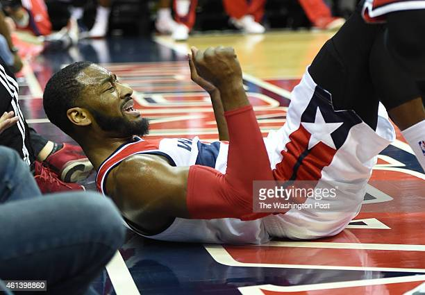 Washington Wizards guard John Wall reacts after he was fouled during action against the Chicago Bulls on January 9 2015 in Washington DC