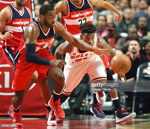 Washington Wizards guard John Wall steals the ball from Chicago Bulls guard Jimmy Butler during the second half on Monday Jan 11 at the United Center...