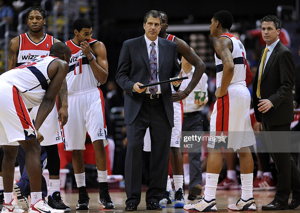Washington Wizards head coach Randy Wittman prepares to draw up a play during an official timeout in the fourth quarter against the Dallas Mavericks at the Verizon Center in Washington, D.C., Tuesday, January 1, 2013. The Mavericks defeated the Wizards, 103-94.