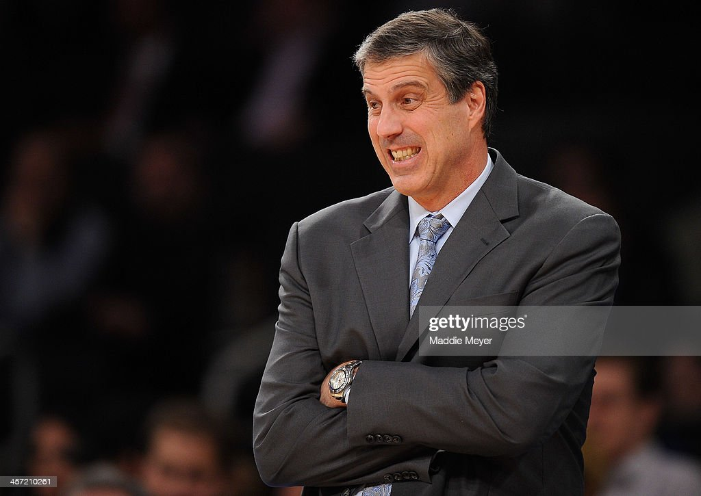 Washington Wizards head coach <a gi-track='captionPersonalityLinkClicked' href=/galleries/search?phrase=Randy+Wittman&family=editorial&specificpeople=679109 ng-click='$event.stopPropagation()'>Randy Wittman</a> reacts during the first half against the New York Knicks at Madison Square Garden on December 16, 2013 in New York City.